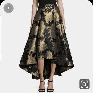 New! Eliza J Black & Gold Hi-low Brocade Skirt